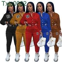 Women Tracksuits Two Piece Set Designer Fall Baseball Uniform Letter Printing Button Cardigan Jackets Sweaterpants Sports Suit 5 Colours