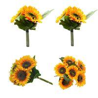 Decorative Flowers & Wreaths Artificial Sunflowers Fake Bride Holding DIY Wedding Bouquets Centerpieces Arrangements For Home Wall Decor