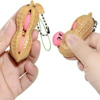 Fidget Peanut Squishes Squeeze Toy Dimple Keychain Stress Relief Key Ring Anti ADHD Vent Balls Squeezy Antistress Decompression Toys Keychains