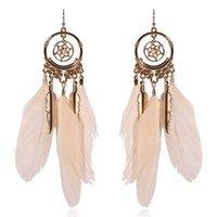 Dreamcatcher DreamCatcher Pink Feather Ear Anelli per Girls Pearl Pendente Orecchini Donna Accessori Gioielli donna Coreano Moda Goccia Orecchino Dangle Chandeli