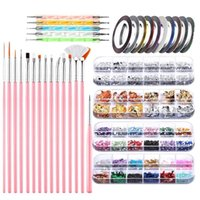 Nail Art Kits D0JF Pen Designer Stamp Tool With Painting Brushes Dotting Foil Manicure Tape Colorful