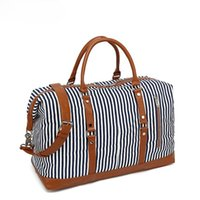Duffel Bags OLN Women's Big Travel Duffle Bag Large Capacity Striped Cotton Canvas Men's Sports Unisex Weekend Tote Sac Voyage