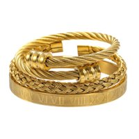 Lujo Titaniumeel Bangles Hip Hop Men Número Romano Pulseras Charm 3pcs / Set Jewelry for Pulseira Bileklik Regalo Bangle