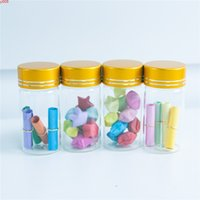 30*60mm 24pcs 25ml Glass Bottles Aluminium Screw Golden Cap Empty Transparent Clear Liquid Gift Container Wishing Bottle Jarshigh qty