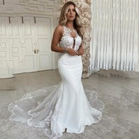 2022 Designer Lace Wedding Dress Mermaid Sexy Backless Long Court Train Bridal Gowns Sleeevless Keyhole Neck Country Lady Marriage Dresses Vestido de novie