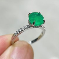 Cluster Rings 18K Gold Ring For Women Natural 1 Emerald With Diamond Fiine Jewelry Anillos De Bizuteria Mujer Gemstone Box