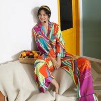 European American Silk Pajamas Set Home Clothing Long Sleeve Spring Summer Thin Satin Loose Large Size Sleepwear Can Be Worn Outside