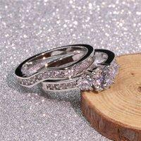 Bague en argent sterling classique 925 Set Ovale Vecalon Coup 3CT Diamant CZ Engagement Bandes de mariage pour femmes Bridal Bijoux H02102