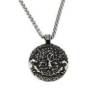 Viking Tree of Life Medal Collar de doble cara Mundo y lobo Colgante de acero inoxidable Colgante de moda para hombres Joyas de mujer collares