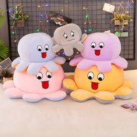 30cm Big Size Reversible Flip Octopus Stuffed Soft Double-sided Expression Plush Toy Baby Kids Gift Doll Anime Pillow Gift