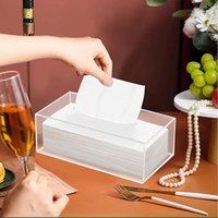Distributeur de tissus claire Boîte de couverture acrylique faciale pour la salle de bain Cuisine et bureau Chambre Rectangle HK3 Boxes Nappins