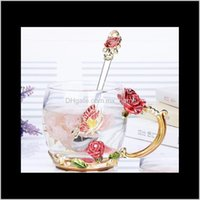 Glass Tea Blue And Wipe Set Spoon Heat Resistant Mug Roses Transparent Cloth Enamel Coffee Cup With Coaster Steel Stainless Wmtfmt 1Cv Aphqq