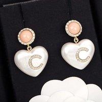 2021 Orecchino di goccia di alta qualità stile di modo con diamante e bianco colore rosa per le donne regalo dei monili di nozze ha il box timbro PS3959