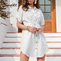 Simplee Beyaz Dantel-Up Kısa Kollu Pamuk Elbise Yarasa Kollu Düğmeli Yaz Kadın Gömlek Elbise Rahat Gevşek Kısa Oficelady Elbise 210320