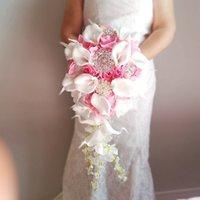 2021 Whintey Pink Cascading Wedding Bouquet Flowers White Calla Lilies Waterfall buquê de casamento boda fleur artificielle