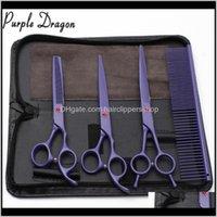 4pcs 7 pouces Purple Dragon Coiffeur en acier inoxydable pour mascotas Cisailles de coupe Amincissement GroomingFordog Animaux 2F6RS Cheveux QCCJ0