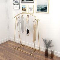 Men's and women's wear display rack Commercial Furniture clothes shelf clothing store cloth show arc racks floor type gold shoe hanger