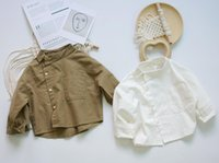 Shirts 2021 Spring Korean Style Baby Boys Cotton Linen Pure Color Loose Tops Kids Clothes Chic Bat Sleeve Children