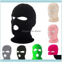 Masks Protective Gear Sports Outdoorsfull Face Er Mask Winter Knitted Ski Cycling Head Scarf Women Men 3 Hole Balaclava Tactical Hunting Hik