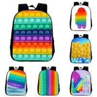 10PCS DHL Kids Students School Bag Teenage Backpack 3D Sensory push Fidget Toys Finger Print Shoulder Bags Sport Book Pack Cartoon Rucksack CT12