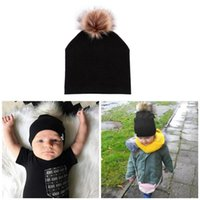 Cute Baby Children Hat Boys Girls Cap Cotton Faux Fur Pompom...