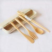 أواني الطعام مجموعات 5PCS أواني المطبخ مع تخزين حالة عيدان عيدان أدوات المائدة المحمولة الشوكات خشبية ملعقة السكاكين مجموعة أطباق