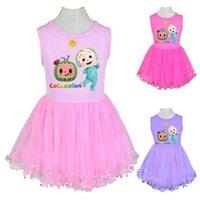 Boutique Cocomelon Girls TUTU Платье без рукавов Rugle Panel Twirl Mesh Марля юбка маленький мальчик JJ мультфильм пушистые вечеринки повседневные платья G83EC6H