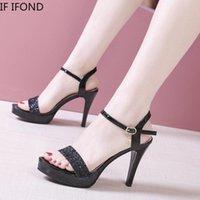 Ifond mulheres bombas sapatos de cristal verão pano de pano de pé aberto festa de casamento mulher 11 cm saltos finos sandalias de mujer sandálias