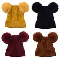 Kids Knitted Hats Pompom Beanie Double Fur Ball Wool Crochet Skull Caps Solid Winter Warm Beanies Woolen Soft Cute Skiing Stretch Headgear Accessories B7787