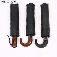 Palony marca de cuero mango curvado hombres automáticos paraguas paraguas masculino a prueba de viento grandes paraguas parasol lluvia paraguas 210320
