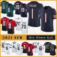 1 Justin Fields 2021 Custom Men Women Kids Youth Football Jersey 8 Kyle Pitts 6 DeVonta Smith 10 Mac Jones 70 Alex Leatherwood High quality stitched jerseys