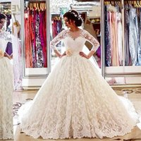 New Vintage Lace Sleeve Princess Wedding Dress with Hand Made Flower Vestido De Noiva Appliqued Lace Ball Gown Bridal Dress Robe
