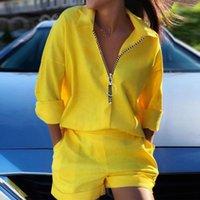 Women's Tracksuits Women Casual Zipper Set Yellow Long Sleeve Top With Pockets Blouse Shirt Pocket Shorts