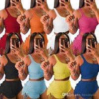 Chándal para mujer Trajes de dos piezas Conjunto Set de pantalones cortos de verano Camiseta Diseñador Drawstring Yoga Trajes Casual Trajes de jogging con arruga y corbata S-XXL