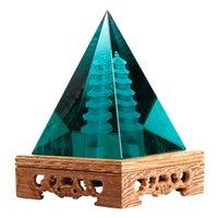 Lüks Ev Dekor Hakiki Wenchang Kulesi Ogan Kristal Piramit Dekorasyon Iş Cam Hediyeler Oturma Odası Salon Mobilyaları Renkli Sır Feng Shui El Sanatları