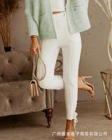 Women's Jeans White Strap Tight Denim 2021 Autumn Fashion Casual Pants