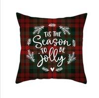 Vermelho xadrez elk throw travesseiro caixa quadrado sofá fresca plana impressão sofá sofá coxim cobertura decoração de natal gwe5423
