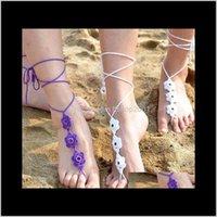 6 cores artesanais crochet flor descalço sandálias casamento beach anklets sapatos ornamento tornozelo pulseira Valentine 50sjj yp1it