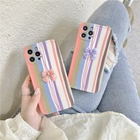 cute stripes butterfly bow phone cases for iphone 12 mini xs 11 pro max 8p 7 7plus se2 creative colorful soft silicone shocpoof cover