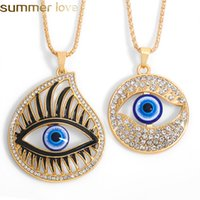 Trendy Evil Demon Eye Pendant Necklace Alloy Sweater Chain Turkey Blue Eyes Fatima Hand Drop Necklaces for Women