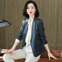 Silk suit jacket Korean version 2021 spring and summer new silk black stripe Blazer women's top