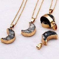 Natürliche Kristallstein vergoldet Druzy Mondform Anhänger Halsketten Dekor Schmuck Für Frauen Männer mit Kette