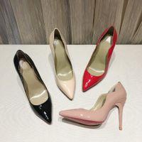 패션 여성 하이힐 신발 빨간색 하단 플랫폼 펌프 블랙 특허 가죽 뾰족한 발가락 하이 딘 발 뒤꿈치 밑창 여자 드레스 신발 상자