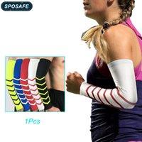 Łokieć podkładki kolanowe Sposafe 1PC rękawy rękawy ocieple UV chłodzenie dla mężczyzn kobiet kremowy tatuaż przykryć kompresję thumb otworu do koszykówki golfowej