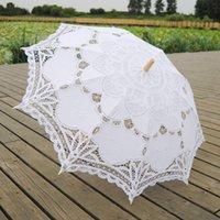 Color Color Parasols Parasols Parasols Sun Coton Broderie Bridal Mariage Mariage De Mariage Blanc Disponible DH8760