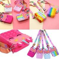 Kawaii Rainbow Fidget giocattolo Pop It Borsa Push Push Unicorn Bubbles Coin Borsellino Girl Cute Messenger Bag Fashion Anti Stress Semplice Dimple