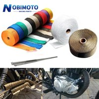 NOBIMOTO- 5cm * 5m / 10m / 15m 오토바이 배기 열 테이프 헤더 열 랩 매니 폴드 절연 롤 스테인레스 넥타이 시스템