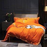 Light luxury 100-piece long-staple cotton embroidered orange bed sheet set, four-piece scotton bedding