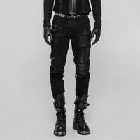 Personalidad Hole Punk Rock Hombres Pantalones Decadente Negro Pantalones largos Streetwear Casual Rave Men's