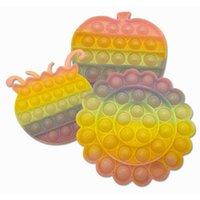 Glitter Gold Powder Bubble Pop Popper Giocattoli Dimensioni regolari Sensorny Push Bolle Puzzle Board Gelato Popsicle Frutta Animale Rainbow Poo-ITS